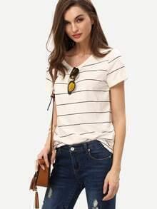 Kurzarm T-Shirt mit Streifen lässig -beige