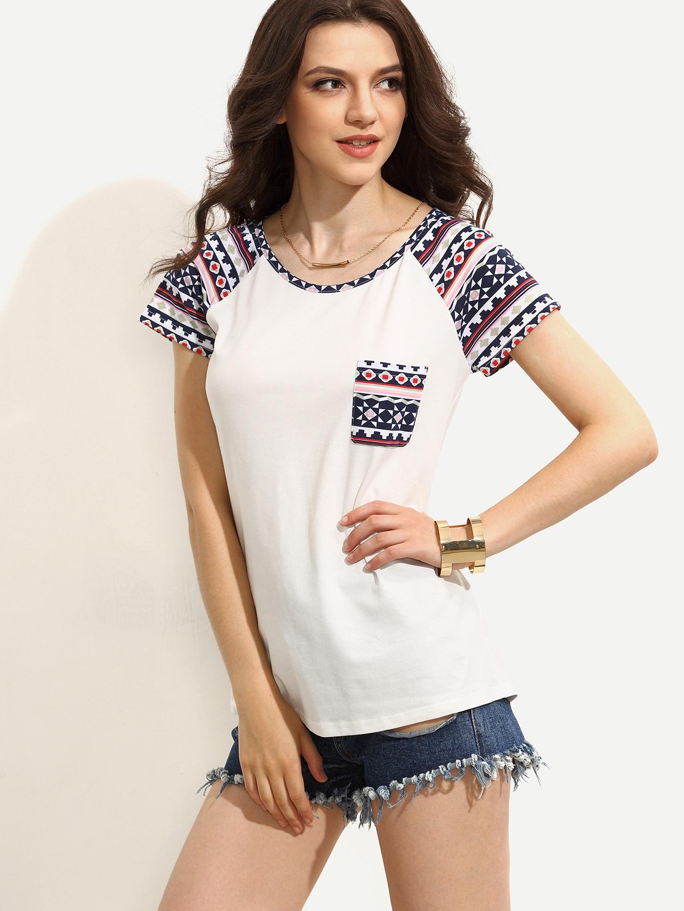 White Print Short Sleeve T Shirt