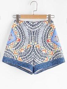 Tribal Print Zipper Back Shorts