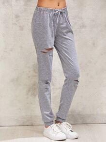 Ripped Drawstring Sweatpants
