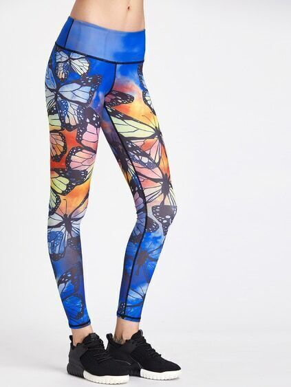 Active Butterfly Print Gym Legging