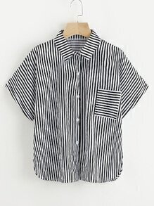 Vertical Striped Shirt With Chest Pocket
