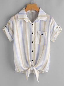 Striped Tie Front Cuffed Shirt With Chest Pocket
