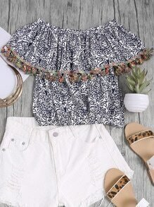Blusa a capas con fleco con estampado floral