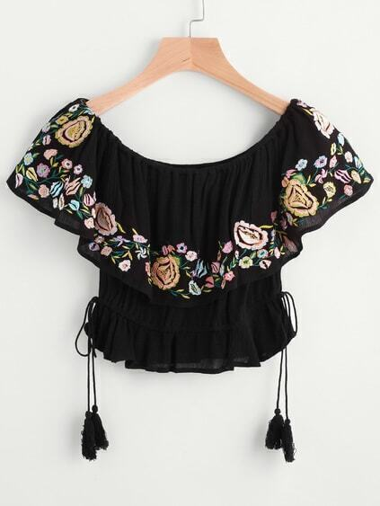Layered Floral Embroidered Drawstring Waist Blouse