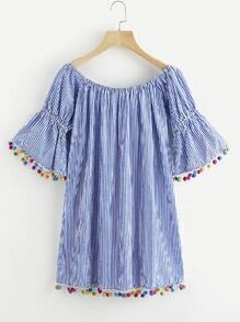 Flute Sleeve Pinstriped Pom Pom Hem Dress