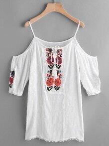 Open Shoulder Embroidered Pleated Pom Pom Hem Dress
