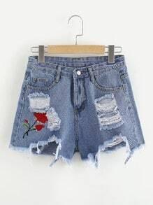 Rose Embroidered Destroyed Fray Hem Shorts