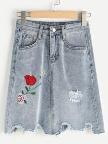 Floral Embroidered Raw Cut Ripped A Line Skirt