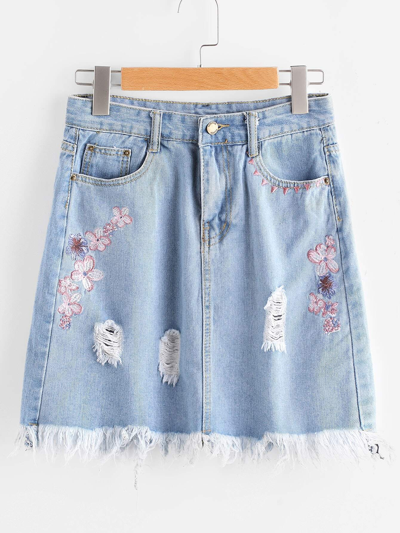 Embroidered Ripped Fray Hem A Line Skirt