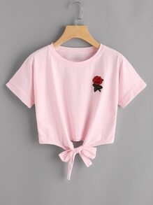 Rose Patch Knot Front Tee