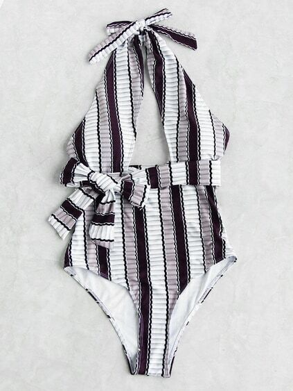 Vertical Striped Front Cutout Self Tie Monokini