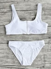 Zipper Up Scoop Neck Bikini Set