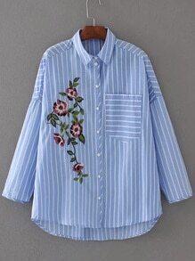 Blusa irregular de rayas verticales con bolsillo