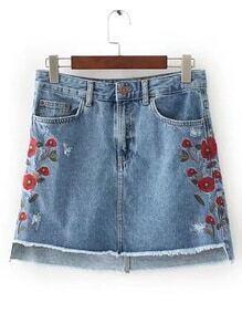 Raw Hem High Low Denim Skirt