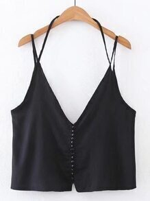 Double V Neck Cami Top With Buttons