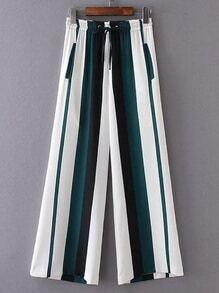 Drawstring Waist Color Block Wide Leg Pants