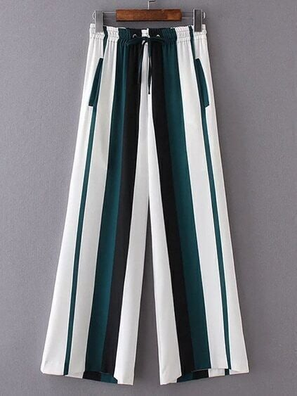Drawstring Waist Color Block Wide Leg Pants