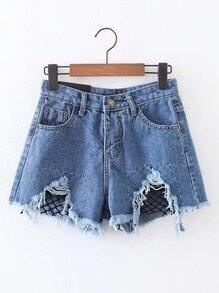 Contrast Mesh Raw Hem Denim Shorts