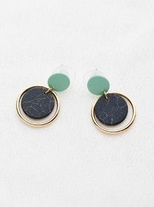 Marble Effect Hoop Drop Earrings