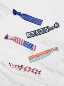 Star And Anchor Pattern Hair Tie Set