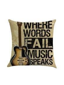 Guitar Print Pillowcase Cover