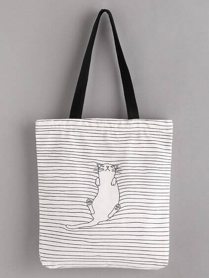 Sleeping Cat Print Linen Tote Bag