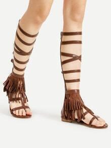 Sandales Gladiator avec l'agrafe de courroie et des franges