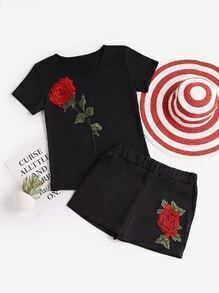 Rose Appliques Tee With Shorts