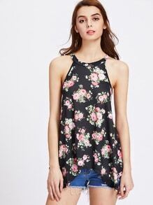 Calico Print Halter Top