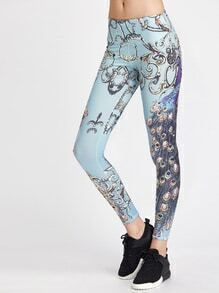 Leggins con estampado de pavo real
