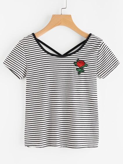 Embroidery Front Criss Cross Back Striped Tee