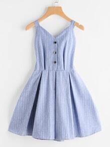 Striped Front Knotted Back Box Pleated Dress