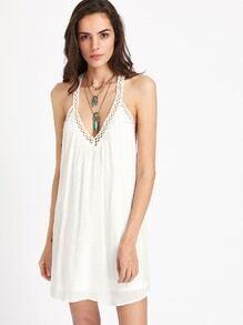 Crochet Hollow Out Trim Y Back Dress