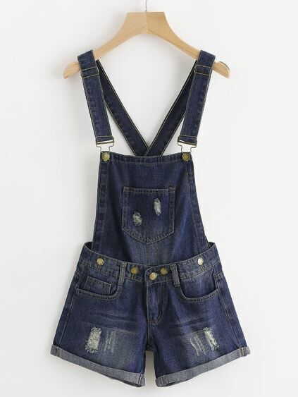 Destroyed Cross Back Cuffed Chambray Pinafore Romper
