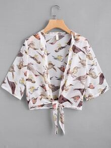 Birdie Print Open Front Self Tie Chiffon Top
