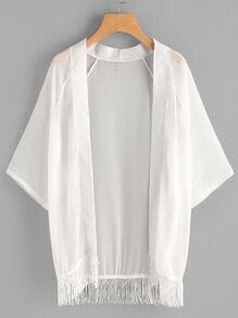 Tassel Hem Sheer Chiffon Kimono