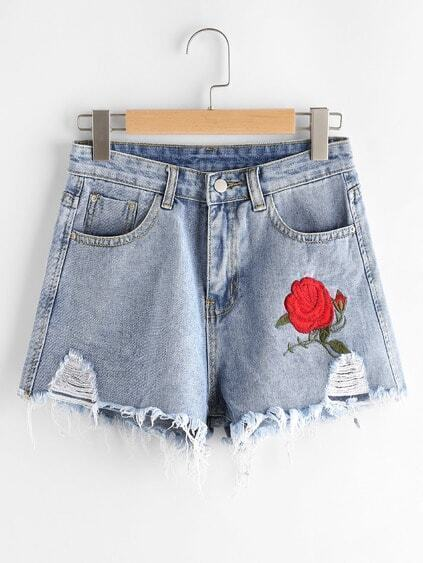 Rose Embroidered Destroyed Fray Hem Chambray Shorts