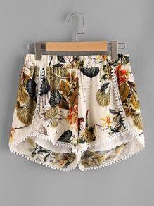 Palm Leaf Elastic Waist Lace Trim Shorts