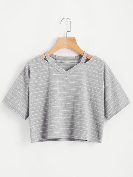 Cut Out Neck Striped Crop Tee