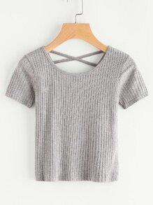 Tee-shirt côtelé croisé à dos