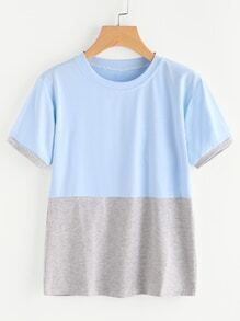 Color Block Contrast Slub Tee