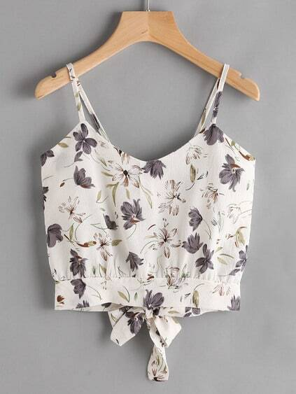 Floral Print Random Open Back Bow Tie Cami Top
