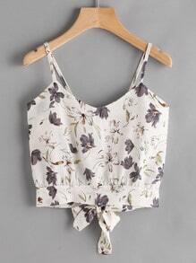 Floral Print Random Open Back Bow Tie Cami Top