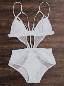 Mesh Design Strappy Monokini