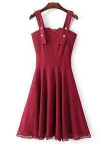 Vestido línea A contraste de encaje de espalda con cremallera