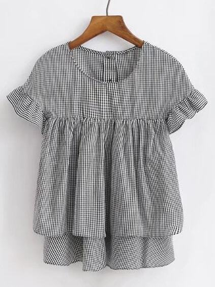 Ruffle Cuff Checked Layered Top