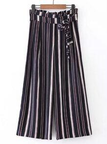 Pantalones de pierna de rayas verticales con nudo