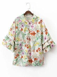 Blusa con volantes con estampado floral