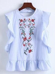 Ruffle Hem V Back Embroidery Top